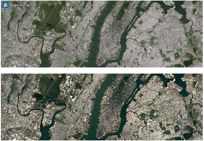 با بکارگیری آخرین داده های به دست آمده از ماهواره Landsat 8 و تکنیک های پردازشی جدید توسط گوگل، تصاویر واضح تری از نقاط مختلف جهان...اپوایس