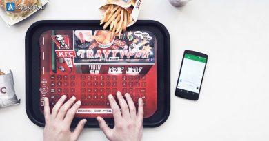 یکی دیگر از ایده های تبلیغاتی خلاقانه رستوران های زنجیره ای KFC، استفاده از یک گجت به جای کاغذ های کف سینی... ایده های نوآورانه تبلیغاتی در وب سایت اپوایس